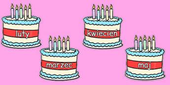 Miesiące roku na urodzinowych tortach po polsku - miesiąc