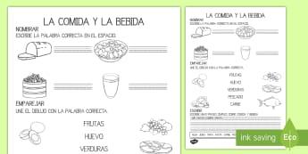 Ficha de actividad: La comida y la bebida - comida, bebida, nutrición, alimentación, alimentos, pan, zumo, agua, frutas, verduras, saludable,