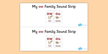 My OW Sound Family Strip - Sound family, OU, alternate spellings, alternate spellings for phonemes, family, sounds, phoneme, phonemes