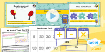 PlanIt - French Year 4 - All Around Town Lesson 3: Counting in Tens Lesson Pack - french, languages, numbers, counting, tens
