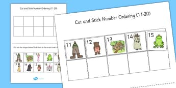 Traditional Tales Themed Cut Stick Number Ordering Sheets 11-20