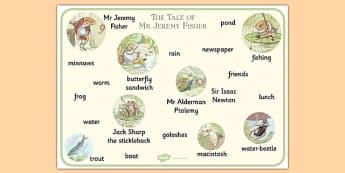 Beatrix Potter - The Tale of Mr Jeremy Fisher Word Mat - beatrix potter, mr jeremy fisher