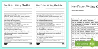 Non Fiction Writing Checklist - AQA GCSE Specific Question Resources, structure, language, OCR GCSE Specific Question Resources, Edu