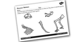 Dinosaur Skeleton Cut and Stick Activity Sheet - dinosaur, skeleton, bones, dinosaur bones, cut, stick, activities, cut and stick, skeleton of a dinosaur, prehistoric, dinosaur parts