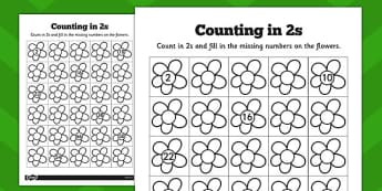 Counting in 2s Flowers Worksheets - counting, 2s, flowers, sheet
