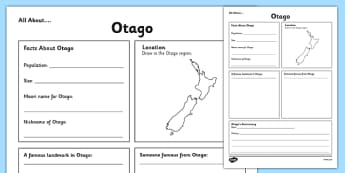 All About Otago Writing Frame - Otago, Anniversary, city, research