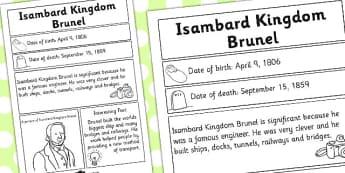 Isambard Kingdom Brunel Significant Individual Fact Sheet - Fact