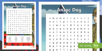 Anzac Day Word Search - New Zealand, Anzac Day, 25 April, ANZAC, Poppies, World War 1, World War 2, Gallipoli