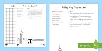 Pi Day City Skyline Art Activity - Pi, color,
