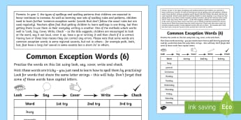 Year 2 Spelling Practice Common Exception Words (6) Homework Activity Sheet - ks1, English, year 2, practice, home learning, home work, homework, practise, SPaG, spellings, strat