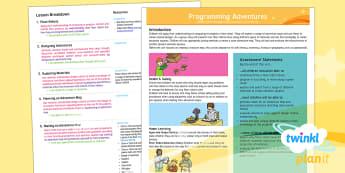 PlanIt - D&T UKS2 - Programming Adventures Planning Overview - design and technology, programming, overview, planit, ks2, upper ks2, y5, y6, d&T, computing