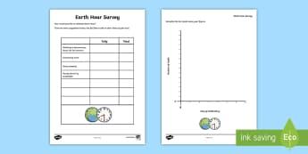 Earth Hour Survey Activity Sheet - CfE, calendar events, Scotland, Scottish, traditions, history, celebrations, eco ideas, green, clima