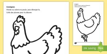 Acitivté d'arts plastiques : la poule - Arts plastiques, peinture, coloriages, bricolage, poule, plumes, découpage, chicken, easter pâques