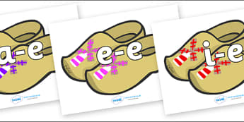 Modifying E Letters on Wooden Shoes - Modifying E, letters, modify, Phase 5, Phase five, alternative spellings for phonemes, DfES letters and Sounds