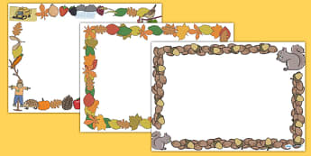 Autumn Page Borders (Landscape) - page border, border, frame, writing frame, autumn, seasons, seasons page borders, writing template, writing aid, writing, A4 page, page edge, writing activities, lined page, lined pages