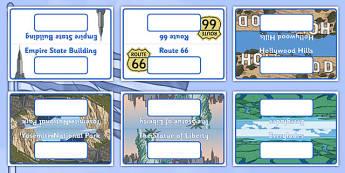 Class Group Table Signs USA America Landmarks Folded - class, group, table, signs, usa, america, landmarks
