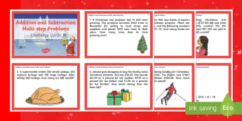 UKS2 Addition and Subtraction Multi-step Word Problems Christmas Maths Challenge Cards