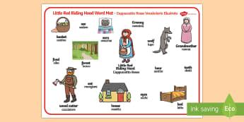 Little Red Riding Hood Word Mat English/Italian - Little Red Riding Hood Word Mat - Little Red Riding Hood, word mat, writing aid, traditional tales,
