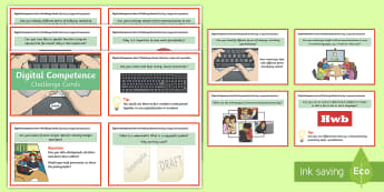 Digital Competence for Year 3 Challenge Cards - Digital Competence Framework, Wales, Year 3, Welsh, ICT Skills.,Welsh