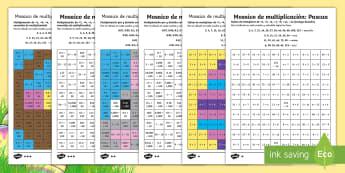 Ficha de actividad de atención a la diversidad: Mosaico de multiplicación - Pascua - multiplicar, multiplicación, Pascua, semana santa, tablas de multiplicar, dividir, división, ficha