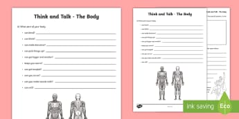 Think and Talk The Body Activity Sheet - Oral Language Activity Sheets, talk and discussion,listening skills,talk about the picture,the body,