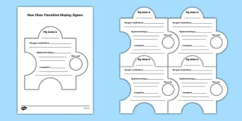 New Class Transition Display Jigsaw Activity Sheet - Irish, worksheet