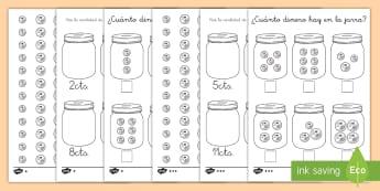 Ficha de actividad: ¿Cuánto dinero hay en la jarra? - dinero, monedas, céntimos, euros, euro, céntimo, sumas, contar, sumar, adición, añadir, valor, v