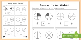 Comparing Fractions Worksheet - Maths, Fractions, New Zealand, comparing fractions