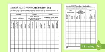 Spanish GCSE Photo Card Student Log - Spanish Speaking Practice, students, log, topics, photo, card, GCSE