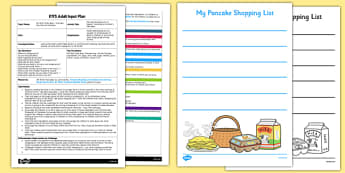 Pancake Shopping List EYFS Adult Input Plan and Resource Pack to Support Teaching on Mr Wolf's Pancakes - EYFS, Early Years planning, adult led, Literacy, Writing Area, Pancake Day, Shrove Tuesday, Mr Wolf's Pancakes, Jan Fearnley