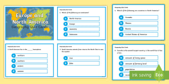 Europe and North America Quiz Cards - continents, USA, world, earth, capitals, questions, facts, countries