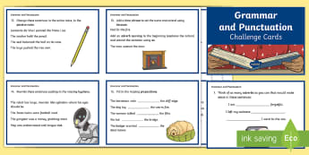 Grammar and Punctuation Challenge Cards - English, grammar, punctuation, language, sentences, adverbs, prefixes, verbs, homophones, contractio