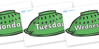 Days of the Week on Colander Helmets to Support Teaching on Whatever Next! - Days of the Week, Weeks poster, week, display, poster, frieze, Days, Day, Monday, Tuesday, Wednesday, Thursday, Friday, Saturday, Sunday