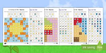 Feuille d'activités : La mosaïque de l'été - l'été, été, mosaïque, coloriage, colorier, feuille d'activités, saisons, reconnaissance visu