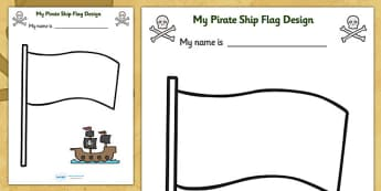 Design Your Own Ship Flag Worksheet -  worksheets, worksheet, flag design worksheets, flags, design worksheets, flag template, pirates, pirate worksheet