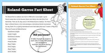 Roland-Garros Fact Sheet - roland-garros, fact sheets, tennis, french open, sports