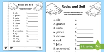 Rocks and Soil Word Unscramble - CfE Sciences, vocabulary, keywords, literacy, English, anagram, Earth's materials, SCN,Scottish