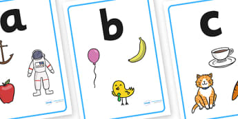 Alphabet Picture Display Posters (Mnenomic) - Alphabet freize, display, poster, Initial sound posters, Sound picture cards, Phonics,  DfES Letters and Sounds