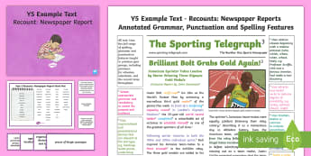 Y5 Recounts: Newspaper Report Model/Example Text - genre, WAGOLL, exemplar, non-fiction, text, text features, SPaG, GPS, example, exemplifications, por