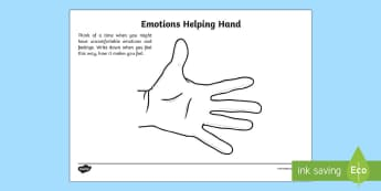 Mindful Me: Emotions Helping Hand Activity Sheet - Mindfulness, worksheet, anger management, feeling, emotion.
