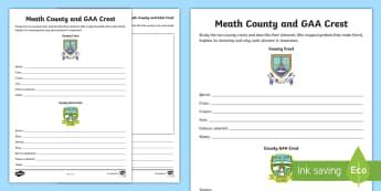 Meath County and GAA Crest Activity Sheet - GAA Football All-Ireland Senior Championship, GAA Hurling All-Ireland Senior Championship, GAA crest