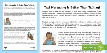 Text Messaging Is Better Than Talking Exposition Writing Sample-Australia - Literacy, Text Messaging is Better than Talking Exposition  Writing Sample, writing sample, writing,