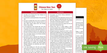Chinese New Year Fact Sheet for Adults - EYFS, Early Years, KS1, Key Stage 1, Chinese New Year, Spring Festival