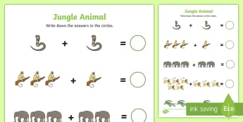 Jungle Animal Themed Addition Sheet - walking through the jungle, addition, sheet, walking through the jungle worksheet, addition worksheet, numeracy