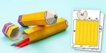 3D Pencil Gift Box - 3d, pencil, gift box, gift, box, craft, model