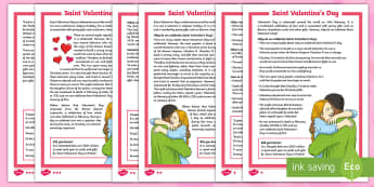 Saint Valentine's Day Differentiated Fact File - KS2, Valentine's Day, Fact File. love, romance