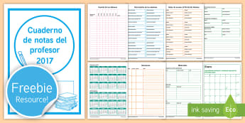 2017 Cuaderno de Notas del Profesor -  agenda, organización, manejo, clase, cuaderno, profesor, 2017, notas,
