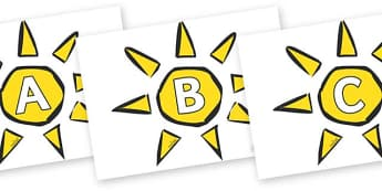 A-Z Alphabet on Weather Symbols (Sun) - A-Z, A4, display, Alphabet frieze, Display letters, Letter posters, A-Z letters, Alphabet flashcards