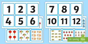 1-20 Number and Quantity Matching Cards - numeracy, numbers, subitising, matching, 1-20, numbers to 20, number matching cards, number and image matching cards, number and quantity matching cards, 1-20 matching cards
