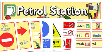 Petrol Station Role Play Pack - petrol station, role play, play, pack, cars, cars, oil, pump, petrol, air pump, unleaded, diesel, car wash, flowers, snacks, newspapers